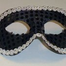 Black Sequin Mardi Gras Masquerade Party Value Mask