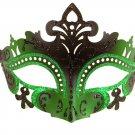 Sexy Black Green Laser Cut Mardi Gras Masquerade Mask Prom Dance