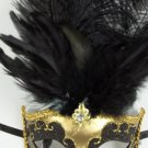 Gold Black Jewel Venetian Masquerade Mardi Gras Feather Mask