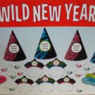 New Years Eve Party 10 Guest Hot Colors Wild Zebra Print 30 Pc Hats Tiaras Kit
