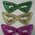 12 (1 dozen) Purple Green Gold Metallic Cat Eye Mask Masks Mardi Gras Party