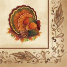 Thanksgiving Traditional Feast Turkey Beverage Napkins 16 ct Party Supplies