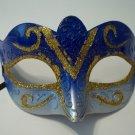 Blue Gold Venetian Glitter Mardi Gras Masquerade Mask Lightweight small