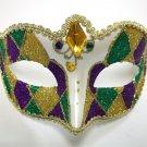 Purple Green Gold Gem White Venetian Glitter Small Masquerade Mardi Gras Mask