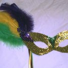 Gold Feather Mask and Stick Mardi Gras Masquerade Party
