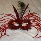 Red  Wild Feather Masquerade Mardi Gras Mask
