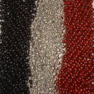36 Red Silver Black Mardi Gras Beads Necklaces Party Favors 3 Dozen Pirate Fun