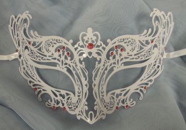 Royal PINK White Laser Cut Venetian Masquerade Metal Filigree Mask Rhinestones