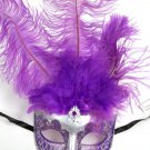 Purple Silver Venetian Feather Masquerade Ball Mardi Gras Prom Mask