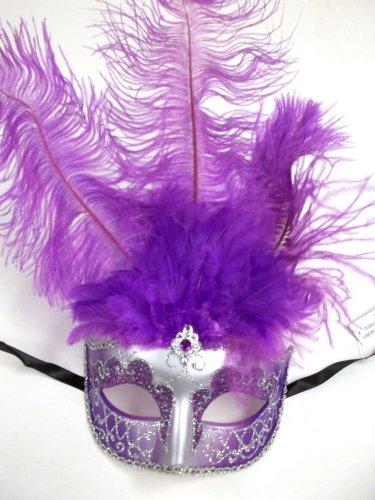 Purple Silver Venetian Feather Masquerade Ball Mardi Gras Prom Mask