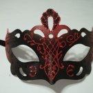 Regal Black Laser Cut Glitter Masquerade Venetian Mask Blue Red Purple Accents