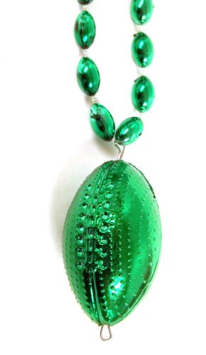 Green Football Shape Mardi Gras Beads Bead Necklace
