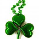 12 Green Heart Clover Shamrock St Patrick's Day Mardi Gras Bead Necklace