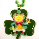 Leprechaun Shamrock Clover Pipe St Patrick's Day Mardi Gras Bead Necklace