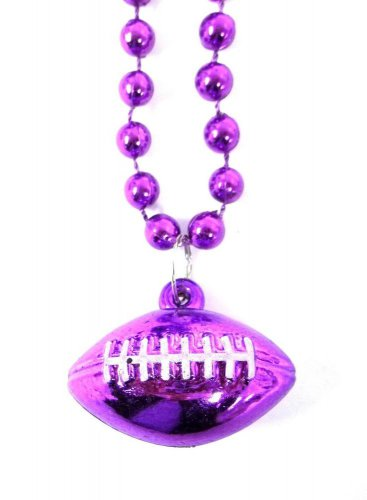 Purple Football Shape Mardi Gras Bead Beads Necklace Party Favor