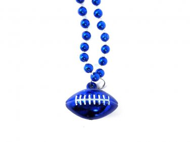 Blue Football Shape Mardi Gras Bead Beads Necklace Party Favor
