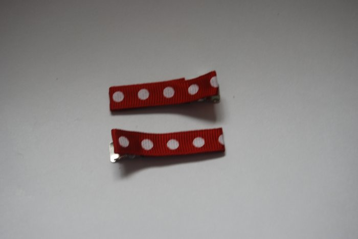 red and white polka dot clippie
