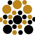 Set of 26 - BLACK / COPPER METALLIC CIRCLES Vinyl Wall Graphic Decals Stickers shapes polka dots
