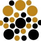 Set of 26 - BLACK / COPPER METALLIC CIRCLES Vinyl Wall Graphic Decals Stickers shapes polka dots