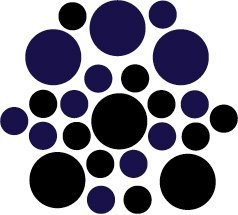 Set of 26 - BLACK / DARK BLUE CIRCLES Vinyl Wall Graphic Decals Stickers shapes polka dots round