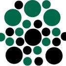 Set of 26 - BLACK / DARK GREEN CIRCLES Vinyl Wall Graphic Decals Stickers shapes polka dots round