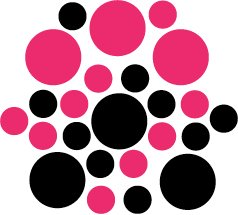 Set of 26 - BLACK / HOT PINK CIRCLES Vinyl Wall Graphic Decals Stickers shapes polka dots round