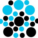 Set of 26 - BLACK / ICE BLUE CIRCLES Vinyl Wall Graphic Decals Stickers shapes polka dots round