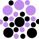 Set of 26 - BLACK / LAVENDER CIRCLES Vinyl Wall Graphic Decals Stickers shapes polka dots round