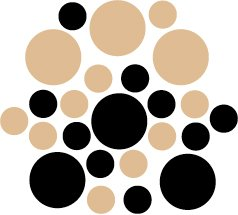 Set of 26 - BLACK / LIGHT BROWN CIRCLES Vinyl Wall Graphic Decals Stickers shapes polka dots round