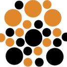 Set of 26 - BLACK / NUT BROWN CIRCLES Vinyl Wall Graphic Decals Stickers shapes polka dots round