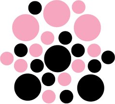 Set of 26 - BLACK / PINK CIRCLES Vinyl Wall Graphic Decals Stickers shapes polka dots round