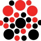 Set of 26 - BLACK / RED CIRCLES Vinyl Wall Graphic Decals Stickers shapes polka dots round