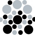 Set of 26 - BLACK / SILVER METALLIC CIRCLES Vinyl Wall Graphic Decals Stickers shapes polka dots