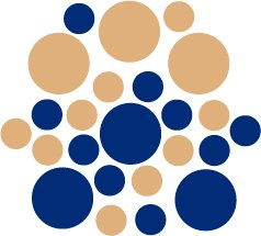 Set of 26 - BLUE / LIGHT BROWN CIRCLES Vinyl Wall Graphic Decals Stickers shapes polka dots round