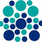 Set of 26 - BLUE / TURQUOISE CIRCLES Vinyl Wall Graphic Decals Stickers shapes polka dots