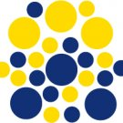 Set of 26 - BLUE / YELLOW CIRCLES Vinyl Wall Graphic Decals Stickers shapes polka dots