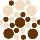 Set of 26 - BROWN / BEIGE CIRCLES Vinyl Wall Graphic Decals Stickers shapes polka dots
