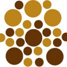 Set of 26 - BROWN / COPPER METALLIC CIRCLES Vinyl Wall Graphic Decals Stickers shapes polka dots