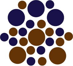 Set of 26 - BROWN / DARK BLUE CIRCLES Vinyl Wall Graphic Decals Stickers shapes polka dots