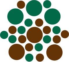 Set of 26 - BROWN / DARK GREEN CIRCLES Vinyl Wall Graphic Decals Stickers shapes polka dots