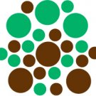 Set of 26 - BROWN / GREEN CIRCLES Vinyl Wall Graphic Decals Stickers shapes polka dots