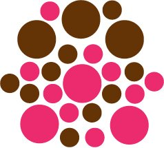 Set of 26 - BROWN / HOT PINK CIRCLES Vinyl Wall Graphic Decals Stickers shapes polka dots