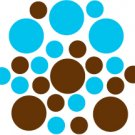 Set of 26 - BROWN / ICE BLUE CIRCLES Vinyl Wall Graphic Decals Stickers shapes polka dots