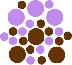 Set of 26 - BROWN / LAVENDER CIRCLES Vinyl Wall Graphic Decals Stickers shapes polka dots
