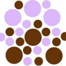 Set of 26 - BROWN / LILAC CIRCLES Vinyl Wall Graphic Decals Stickers shapes polka dots