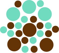 Set of 26 - BROWN / MINT CIRCLES Vinyl Wall Graphic Decals Stickers shapes polka dots
