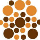 Set of 26 - BROWN / NUT BROWN CIRCLES Vinyl Wall Graphic Decals Stickers shapes polka dots