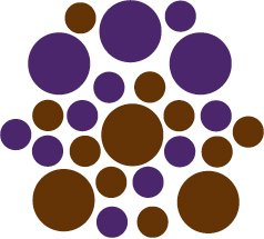 Set of 26 - BROWN / PURPLE CIRCLES Vinyl Wall Graphic Decals Stickers shapes polka dots