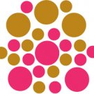 Set of 26 - HOT PINK / COPPER METALLIC CIRCLES Vinyl Wall Graphic Decals Stickers shapes polka dots