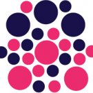 Set of 26 - HOT PINK / DARK BLUE CIRCLES Vinyl Wall Graphic Decals Stickers shapes polka dots
